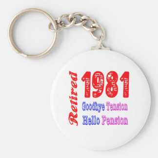 Retired 1981 , Goodbye Tension Hello Pension Keychain