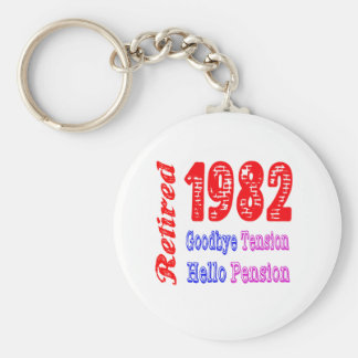 Retired 1982 , Goodbye Tension Hello Pension Key Chain