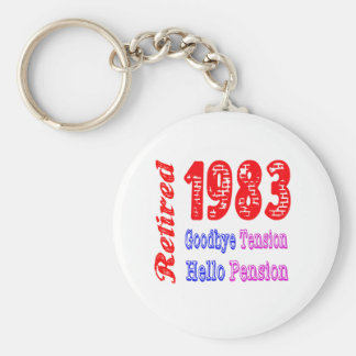 Retired 1983 , Goodbye Tension Hello Pension Keychains