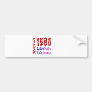 Retired 1986 Goodbye Tension Hello Pension Bumper Sticker