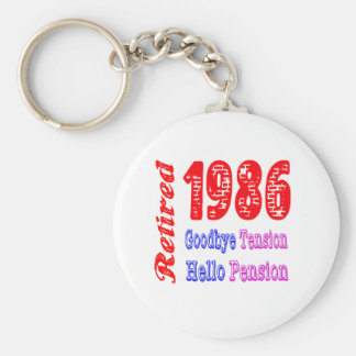 Retired 1986 , Goodbye Tension Hello Pension Key Chains