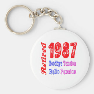 Retired 1987 , Goodbye Tension Hello Pension Keychain