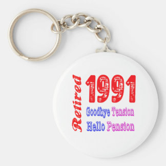 Retired 1991 , Goodbye Tension Hello Pension Key Chain
