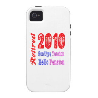 Retired 2010 Goodbye Tension Hello Pension Case-Mate iPhone 4 Cases