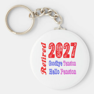 Retired 2027 , Goodbye Tension Hello Pension Key Chains