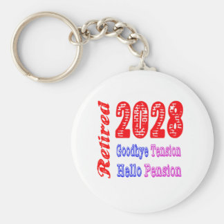 Retired 2028 , Goodbye Tension Hello Pension Key Chains