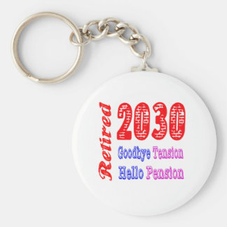 Retired 2030 , Goodbye Tension Hello Pension Keychains