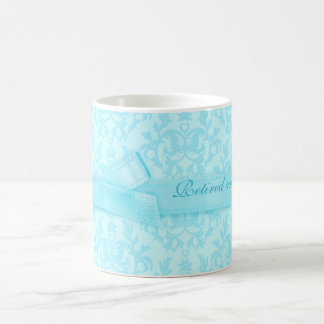 """Retired and loving it"" damask pale blue mug"