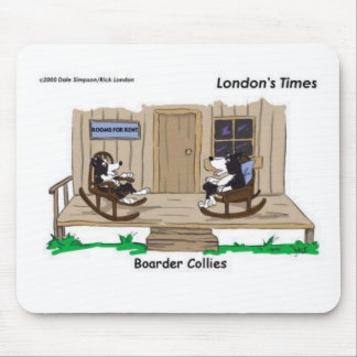 Retired Border Collies Funny Offbeat Cartoon Gifts Mouse Mat