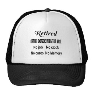 Retired Certified Emergency Registered Nurse No jo Cap
