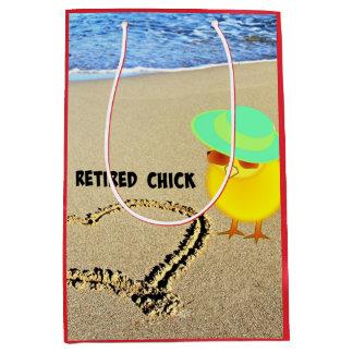Retired Chick at the Beach Medium Gift Bag