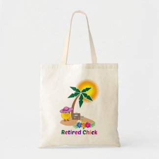 Retired Chick on Tropical Island Tote Bag