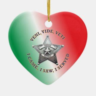 Retired Deputy Sheriff's Star Badge Ceramic Heart Decoration