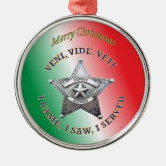 Retired Deputy Sheriff's Star Badge Christmas Ornament