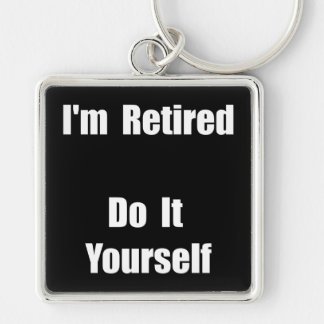 Retired Do It Yourself Silver-Colored Square Key Ring