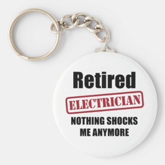 Retired Electrician (US spell) Basic Round Button Key Ring