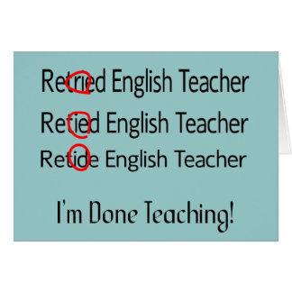 Retired English Teacher Gifts Card
