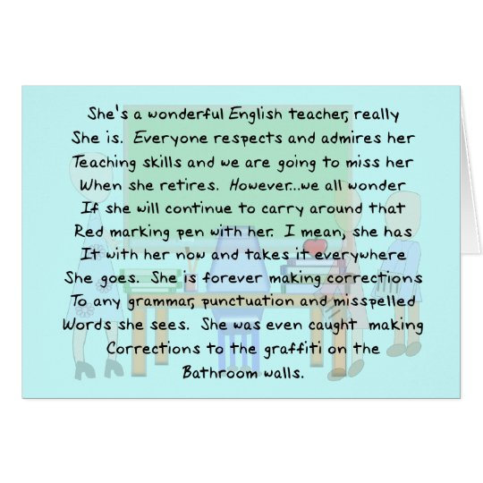 Retired English Teacher Story Art Gifts Card