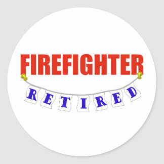 RETIRED FIREFIGHTER CLASSIC ROUND STICKER