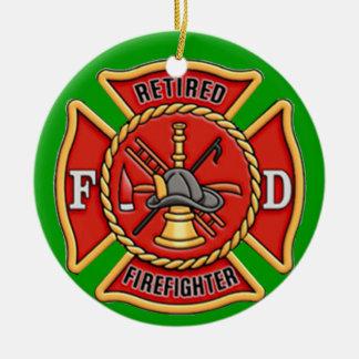 Retired Firefighter Round Ceramic Decoration