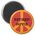 RETIRED HIPPIE: Peace Symbol, Retired Hippie. 6 Cm Round Magnet