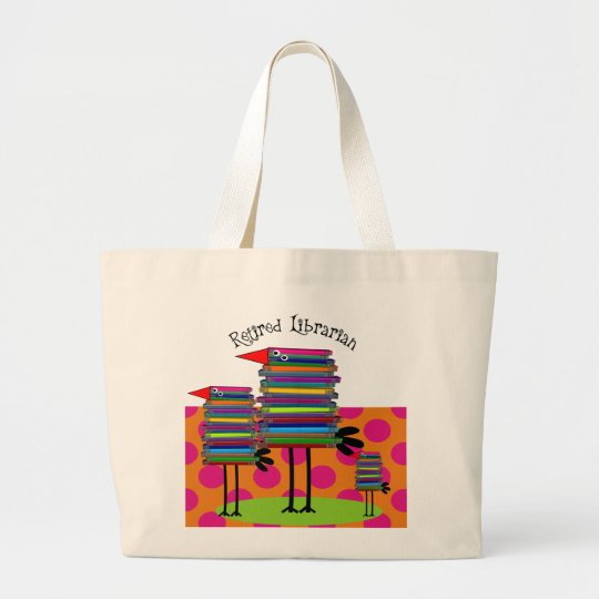 Retired Librarian Book Birds III Large Tote Bag
