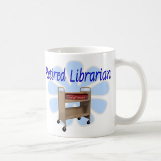 retired Librarian Book Cart Design Coffee Mug
