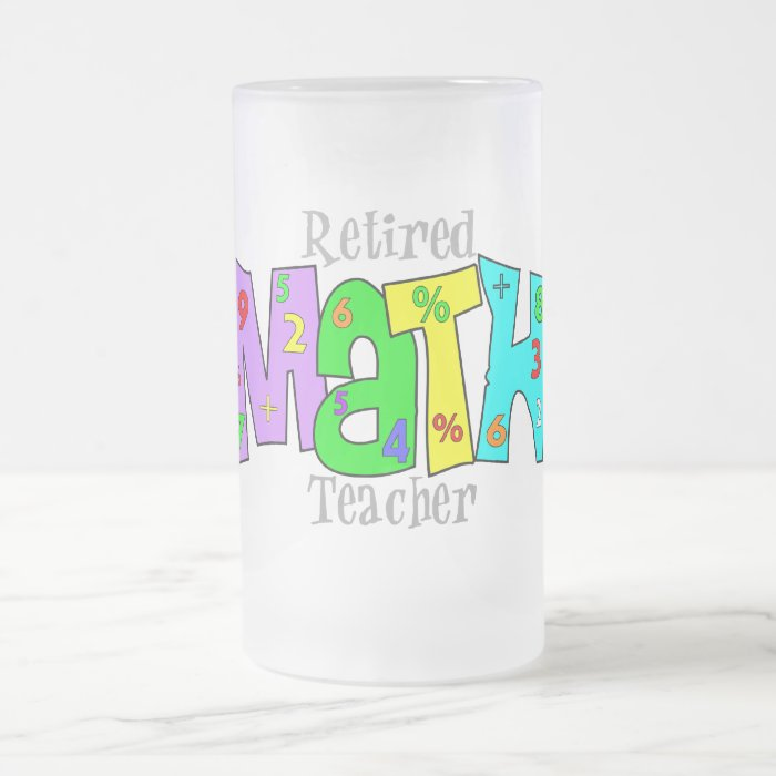 Retired Math Teacher Gifts Frosted Glass Beer Mug
