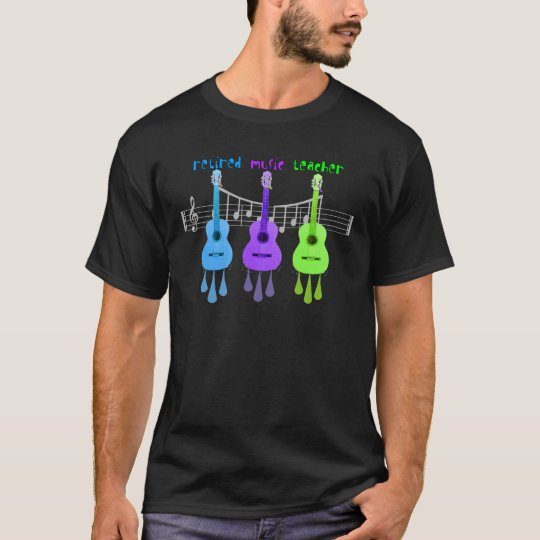 Retired Music Teacher 3 Guitars Design T-Shirt