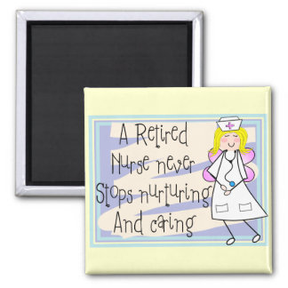 Retired Nurse Angel Art Cards & Gifts Square Magnet