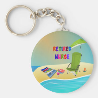 Retired Nurse, Fun in the Sun Basic Round Button Key Ring