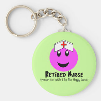 "Retired Nurse Gifts ""Happy Dance Pink Smiley"" Basic Round Button Key Ring"