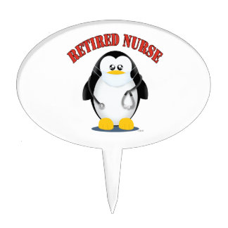 Retired Nurse Penguin Cake Picks