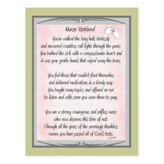 Retired Nurse Poem gifts by ~~Gail Gabel, RN Postcard