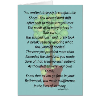 Retired Nurse Poem Greeting Card by Gail Gabel RN