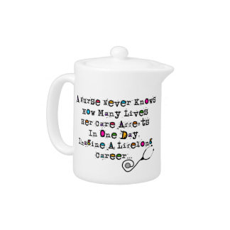 Retired  Nurse Poem Teapot