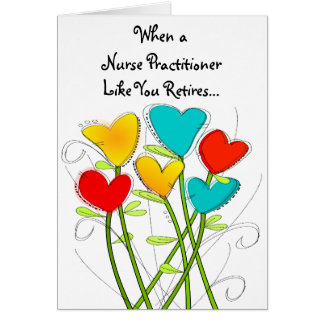 Retired Nurse Practitioner Card Floral