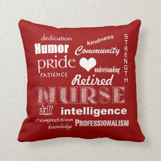 Retired Nurse Pride-Attributes+Heart Throw Cushions