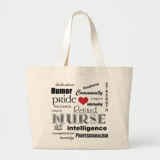 Retired Nurse Pride-Attributes+red heart Jumbo Tote Bag