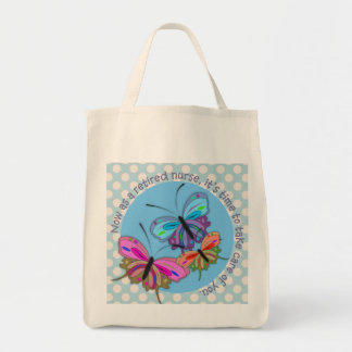 Retired Nurse Tote Bag Butterflies Design