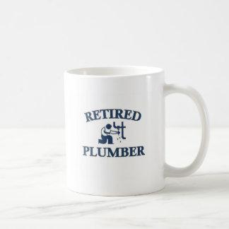 Retired plumber basic white mug