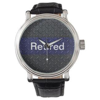 Retired Police Diamond Plate Design Thin Blue Line Wristwatches