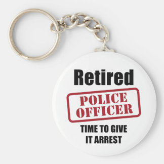 Retired Police Officer Basic Round Button Key Ring