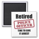 Retired Police Officer Square Magnet