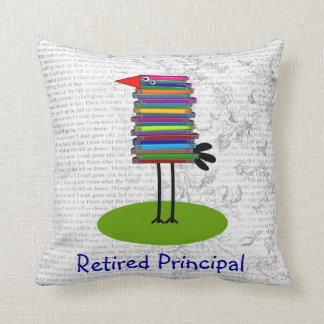 Retired Principal Book Bird Pillow
