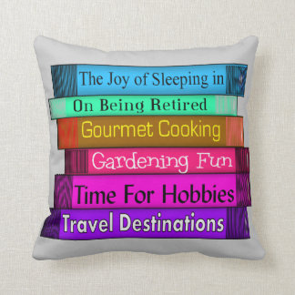Retired Readers Stack of Books Pillow Throw Cushions