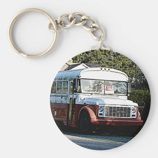 Retired Red and White Bus Key Chains