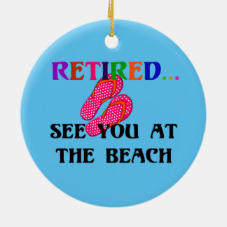 Retired - See You at the Beach, Pink Flip Flops Christmas Ornament