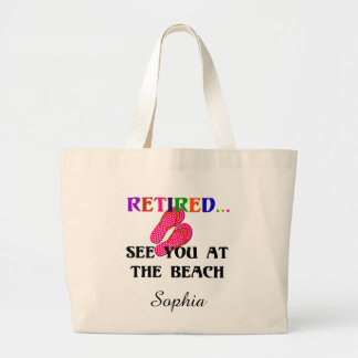 Retired - See You at the Beach, Template Large Tote Bag