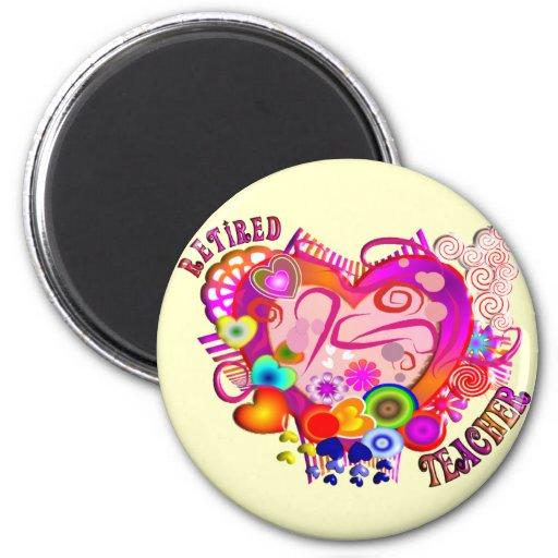 Retired Teacher Artsy Retro Heart 6 Cm Round Magnet